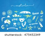green and white australia icon...   Shutterstock .eps vector #475452349