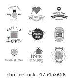 knitting label set. hand knit... | Shutterstock .eps vector #475458658