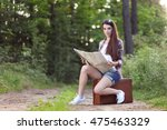 pretty girl hitchhiking on the... | Shutterstock . vector #475463329