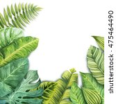 watercolor tropical leaves | Shutterstock . vector #475464490