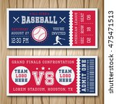 baseball blue red tickets with... | Shutterstock .eps vector #475471513
