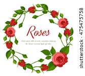 Red Roses Wreath On White...