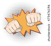punching fists. pop art comic... | Shutterstock . vector #475476196