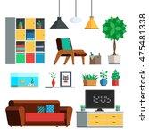 furniture interior set. living... | Shutterstock .eps vector #475481338