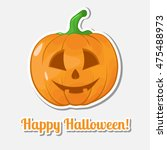 sticker halloween pumpkin.... | Shutterstock .eps vector #475488973