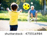 child playing with grandfather... | Shutterstock . vector #475516984