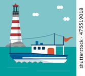boat cloud lighthouse ship sea... | Shutterstock .eps vector #475519018
