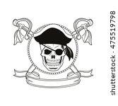 skull sword ribbon cartoon... | Shutterstock .eps vector #475519798