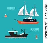 boat ship sea ocen... | Shutterstock .eps vector #475519900