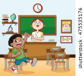teacher boy kid classroom back... | Shutterstock .eps vector #475535176
