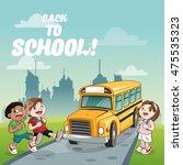 yellow bus kids back to school... | Shutterstock .eps vector #475535323