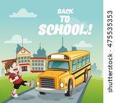 yellow bus boy back to school... | Shutterstock .eps vector #475535353