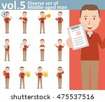 diverse set of middle aged man... | Shutterstock .eps vector #475537516