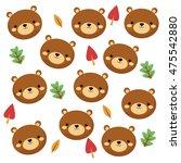 flat design cute bear cartoon... | Shutterstock .eps vector #475542880