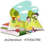 many children reading books in... | Shutterstock .eps vector #475561780