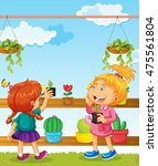 two girls and many flower pots... | Shutterstock .eps vector #475561804