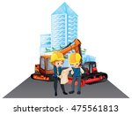two engineers working at the... | Shutterstock .eps vector #475561813