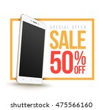 sale banner with smartphone... | Shutterstock .eps vector #475566160