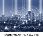 network connection line between ... | Shutterstock . vector #475569448