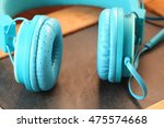 the old headphone represent the ... | Shutterstock . vector #475574668