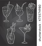 hand drawn sketch ice alcoholic ... | Shutterstock .eps vector #475574980