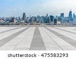 empty brick floor with city... | Shutterstock . vector #475583293