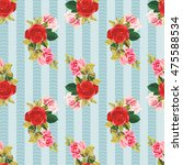 seamless floral pattern red and ... | Shutterstock .eps vector #475588534