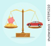 scale with red car  piggy bank... | Shutterstock .eps vector #475591210
