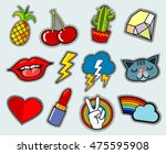 cartoon patch badges vector... | Shutterstock .eps vector #475595908