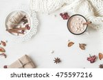 autumn composition. hot... | Shutterstock . vector #475597216