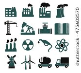 building factory icon set | Shutterstock .eps vector #475603570