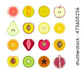 halves of fruit set. can be... | Shutterstock .eps vector #475605256