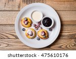 cottage cheese pancakes served... | Shutterstock . vector #475610176