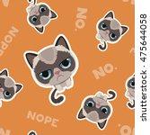 cute sad grumpy cat in material ... | Shutterstock .eps vector #475644058
