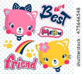 Stock vector cute cat girl and friend on polka dot background illustration vector 475646548
