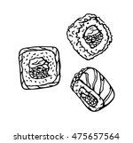 sushi roll isolated on white... | Shutterstock .eps vector #475657564