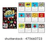 calendar 2017 in cartoon 80s... | Shutterstock .eps vector #475660723