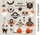 happy halloween design elements.... | Shutterstock .eps vector #475666069