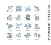 set of thin flat line icons.... | Shutterstock .eps vector #475666708