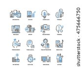set of thin flat line icons.... | Shutterstock .eps vector #475666750