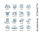 set of thin flat line icons.... | Shutterstock .eps vector #475666774