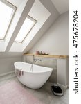 Small photo of Beautiful attic bathroom design with free standing bath