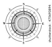 radar compass rose with globe.... | Shutterstock .eps vector #475693894