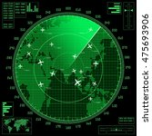 green radar screen with planes... | Shutterstock .eps vector #475693906