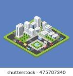 flat 3d isometric urban city... | Shutterstock .eps vector #475707340