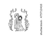 indian wedding couple doodle... | Shutterstock .eps vector #475712410