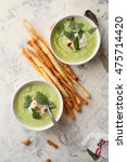 Two Bowls Of Green Summer Soup...