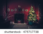living room with christmas tree | Shutterstock . vector #475717738