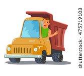 cartoon truck driver character... | Shutterstock .eps vector #475719103