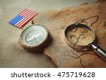 old map with compass  american... | Shutterstock . vector #475719628